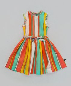 Take a look at this Coral & Blue Stripe Barceloneta Dress by Llum on #zulily today!