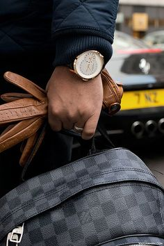 Mens Accessories. Timepiece, Luggage LV, Leather Gloves. Rich.