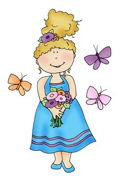 Free Dearie Dolls Digi Stamps: Flowers and Butterflies