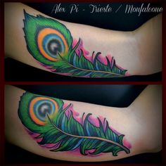 Neo Traditional peacock feather tattoo on inner bicep