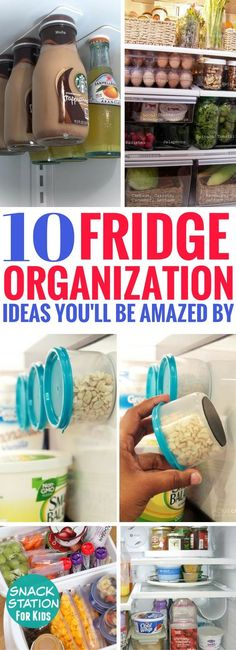 These 10 Fridge Organization Ideas are BRILLIANT! I can't wait to try all of them out. Great kitchen hacks to make sure your fridge stays clean and organized.