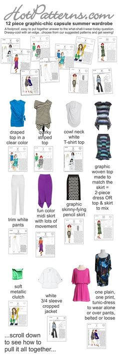 12 piece summer capsule wardrobe collection. I love the pencil skirt with the polka-dot middle panel.