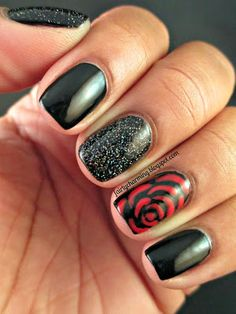Rimmel Black Satin, China Glaze, Hey Sailor, Fairy Dust, red rose, holo glitter, black and red, romantic, love, nails, nail art, nail design, mani, love the rose!