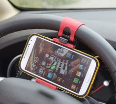 Car Steering Wheel Smartphone Holder - CoolShitiBuy.com - Cool Things to Buy!