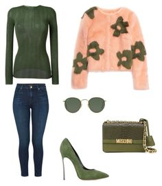 """Untitled #363"" by tam-west on Polyvore featuring Moschino, J Brand, Casadei, Ray-Ban, Gucci and Shrimps"
