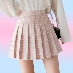 High waist plaid pleated pink skirt Plaid Mini Skirt, Plaid Skirts, Pleated Skirt, High Waisted Skirt, Pleated Fabric, Pleated Dresses, Fitted Skirt, Mini Dresses, Skater Skirt