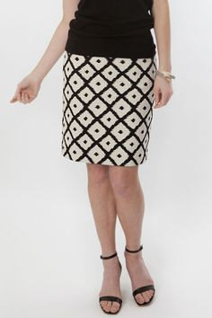 Sevier skirts:  A perfect Black and White basic in a timeless geometric print. The Modern Ikat is a medium weight cotton that looks geat with black or white, but we really love adding a bright shirt to offset the skirt. 100% Cotton. Dry Clean. Blind Hem. Lined with ivory bemberg.
