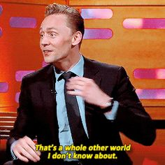 """Tom Hiddleston's reactions when asked about his """"Hiddlestoners"""". Gif-set: http://hiddleston-daily.tumblr.com/post/130356573345/tom-hiddlestons-reactions-when-asked-about Video: https://www.youtube.com/watch?v=F7pY8JjseGc"""