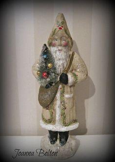 Santa Claus Belsnickel papier mache figurine folk by Joannabolton