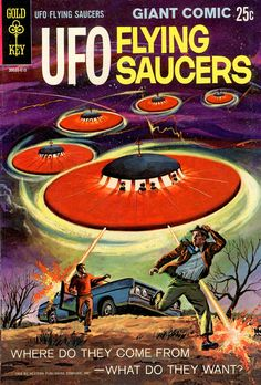 vintage science fiction book cover --- flying saucer apocalypse