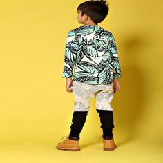 Milk & Masuki long sleeve top in jungle fern print, with writing on the back saying 'Masuki'. Perfect for any little boy or girl. Easy to wash and wear. Stylish Boy Clothes, Stylish Boys, Ferns, Little Boys, Boy Outfits, Long Sleeve Tops, Boy Or Girl, Milk, March