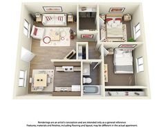 This is a 2 bedroom, 1 bathroom 3D floor plan.  Love this one!