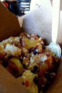 San Francisco's Tartine Bakery - fruit-filled bread pudding.  Delicious!  Savory bread pudding is really good too