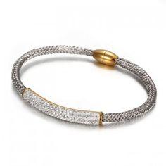 rhinestone bio magnetic snap button bracelet