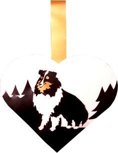 Shetland sheepdog collie hunde julehjerte, lassie julehjerte, dyre julehjerte hund, tre-farvet julehjerte, avanceret juleflet