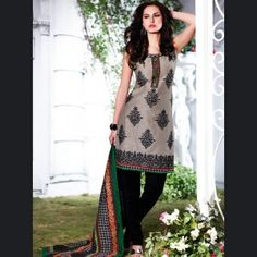 Flamboyant Ash Gray & Black Salwar Kameez   Price:£81.50