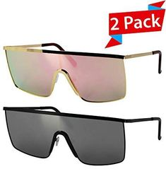 9980eeb949 Oversized Flat Top Square VINTAGE RETRO SHIELD VISOR Style Aviator  SUNGLASSES (2 PACK  Pink and Silver)
