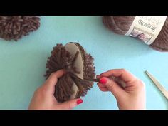 How To: Make a Pompom with a Cardboard Disc - use a bowl and a tea light for the circles