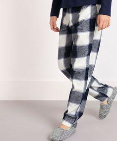 Blue check pants - OYSHO