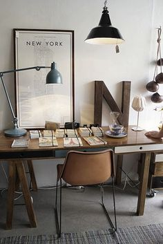 chair + lamps + desk.