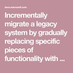 Incrementally migrate a legacy system by gradually replacing specific pieces of functionality with new applications and services. Legacy System, System Architecture, Human Genome, Complex Systems, Software Development, Pattern Design, Fig, Ficus, Figs