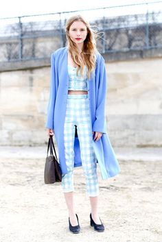 Très Chic! The Best Street Style at Paris Fashion Week: A very Parisian mix of tweed, leather, and quirky-glam shades.  : Checkered separates lent a retro feel to this bit of street style.