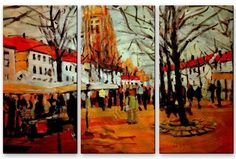 'Bruggs Market' by Brian Simons 3 Piece Painting Print Plaque Set