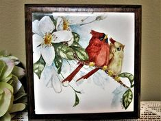 Framed Red Birds Wall Decor Cardinal Tile Art Hand Painted Trivet Kitchen blm by PorcelainChinaArt on Etsy
