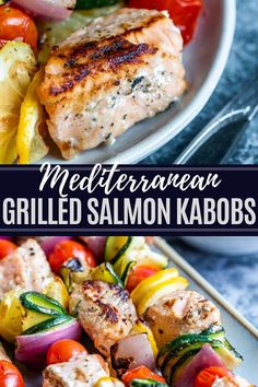 These Mediterranean Salmon Kabobs are simple, healthy and packed with lots of flavor. These grilled skewers will be a hit all summer long. Grilled Salmon Kabobs, Salmon Skewers, Grilled Salmon Recipes, Grilled Fish, Grilled Salmon Dinner, Fresh Salmon Recipes, Orange Recipes, Kabob Recipes, Veggie Recipes
