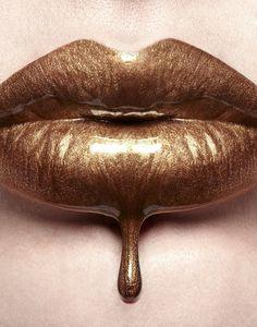 Liquid Gold Lips by Digirrl Love Lips, Lipstick Art, Gold Lipstick, Lipsticks, Brown Lip, Kissable Lips, Liquid Gold, Liquid Metal, Beautiful Lips
