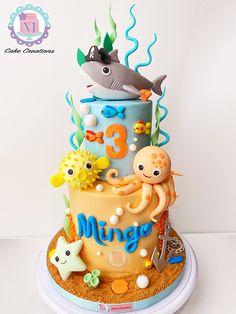 Ocean Birthday Cakes, Toddler Birthday Cakes, Baby Boy Birthday Cake, Ocean Cakes, Boy Birthday Parties, 2nd Birthday, Under Sea Cake, Little Pony Cake, Shark Cake
