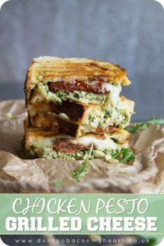 Chicken Pesto Grilled Cheese is the ULTIMATE grilled cheese combo. Juicy chicken wrapped in a homemade basil pesto, paired with sun dried tomatoes and stringy mozzarella - the perfect lunch ready and waiting! #cheese #pesto #chicken #grilledcheese | www.dontgobaconmyheart.co.uk