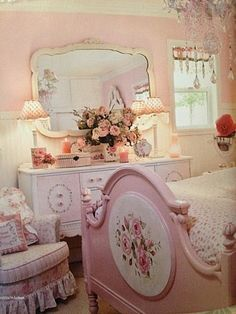 Beautiful pink shabby chic bedroom for Kaley and Natalee...they would love this.