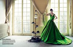 Vogue Ukraine - such an amazing emerald green dress.