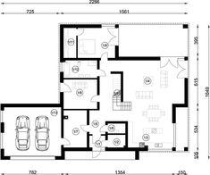 Projekt domu FX-31 257,31 m² - koszt budowy - EXTRADOM Modern Family House, Architect House, Floor Plans, 1, Homemade Modern, Modern Homes, Floor Layout, Build House, Floor Plan Drawing