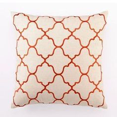 Maybe for guest room bed if go with navy, orange, and white/cream.    Moroccan Tile Linen Pillow in Orange Modern     From decorpad