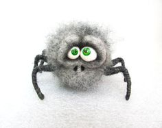 Needle Felted Toy Grey Spider Halloween Doll  by VladaHom on Etsy