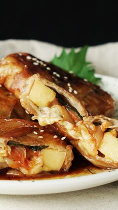 Teriyaki Pork & Apple Discs Easy Pork Recipes How to make teriyaki pork with apple discs. Chicken Recipes For Two, Healthy Chicken Recipes, Pork Recipes, Asian Recipes, Cooking Recipes, Fast Dinner Recipes, Great Recipes, Fast Recipes, Master Chef