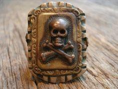 Vintage skull Mexican biker ring
