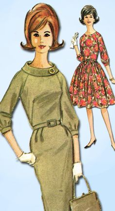 1960s Vintage McCalls Sewing Patern 7059 Easy Misses Street Dress Size 12 32 B
