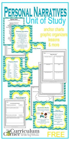 Complete Unit of Study on Writing Personal Narratives from The Curriculum Corner | Anchor Charts, Graphic Organizers, Lessons & More