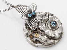 Steampunk Necklace pocket watch movement gears silver butterfly blue crystal Steampunk jewelry #SteampunkNecklace  #SteampunkJewelry #SteampunkJewelrybyMariaSparks #butterfly