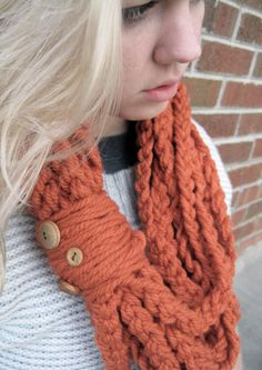 Orange Colored Infinity Scarf Crochet Chain