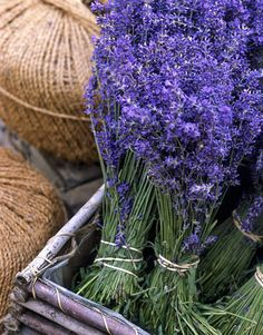 bushels of lavender in a wood box