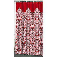 @Overstock   This Shower Curtain Features A Vivid Modern Damask Pattern In  Red And White