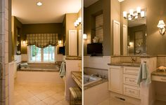 Custom designed master bathroom with double vanities, over mounted tub, built-in niches and performance shower