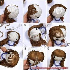 Amigurumi photo tutorial how to hair doll crochet