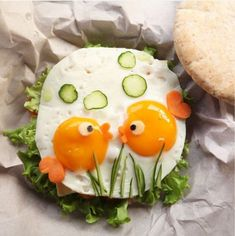 Cute fish food art by Michelle Lim ( – Fish Supplies Cute Snacks, Cute Food, Good Food, Yummy Food, Food Crafts, Diy Food, Food Art For Kids, Food Carving, Food Garnishes