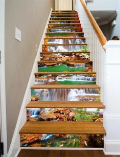 Stair Art, Stair Decor, Marble Stairs, Wooden Stairs, Decoration Photo, Photo Wall Stickers, Door Murals, Stair Risers, Door Wall