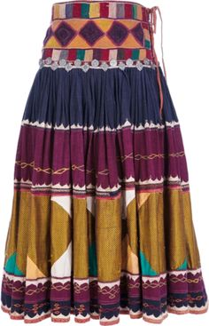 Multi-coloured printed cotton skirt from Etnic Tailored Vintage featuring a high waistband with intricate knit detailing, a pleated design and a mid-length fit.